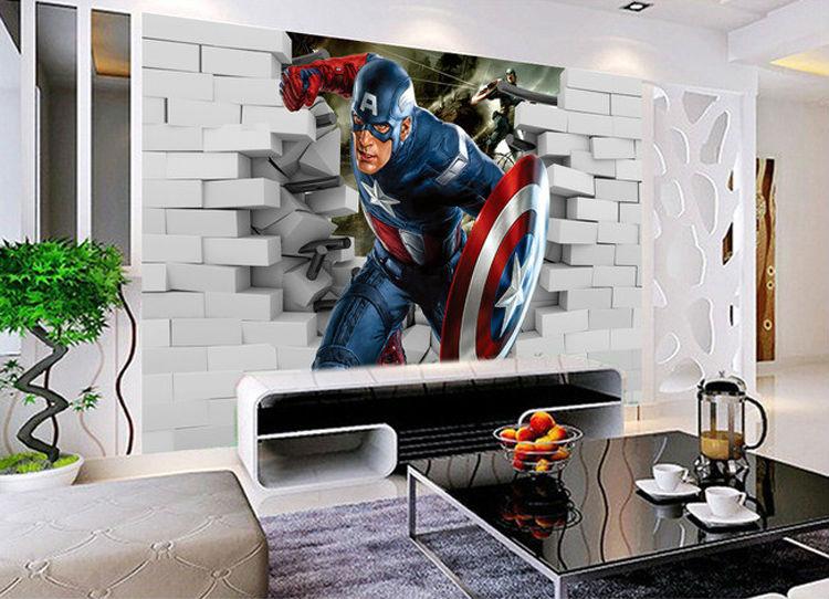 3D Captain America Wallpaper Avengers Photo Wallpaper Cool Wall Mural Boys  Kids Room decor Club Bedroom. Avengers Bedroom Ideas