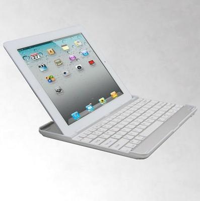 "Brand New Metal Aluminum Bluetooth Wireless Keyboard Case For iPad 4th 3 2 9.7"" White(China (Mainland))"
