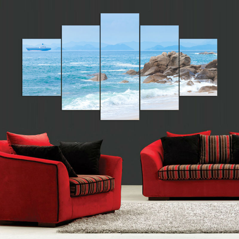 Modern Wall Art Painting Unframed Sea Beach Canvas Picture Fashion Artwork Print Home Decorations 5 Pieces(China (Mainland))