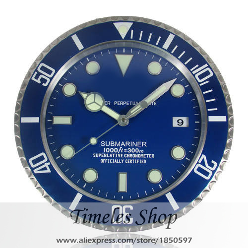 High End Gift rlx Modern Design Branded Wall Clocks Metal Round Full Blue Submarine With Luminous Date Display Silent(China (Mainland))