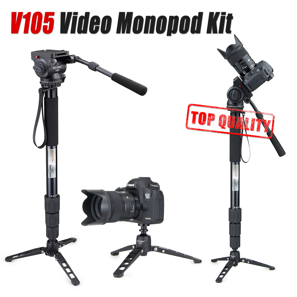 DiC&MiC V105 video monopod kit Professional monopod for video camcorder Fluid head tripod Better than A48TDS4 Manfrotto JY0506(China (Mainland))