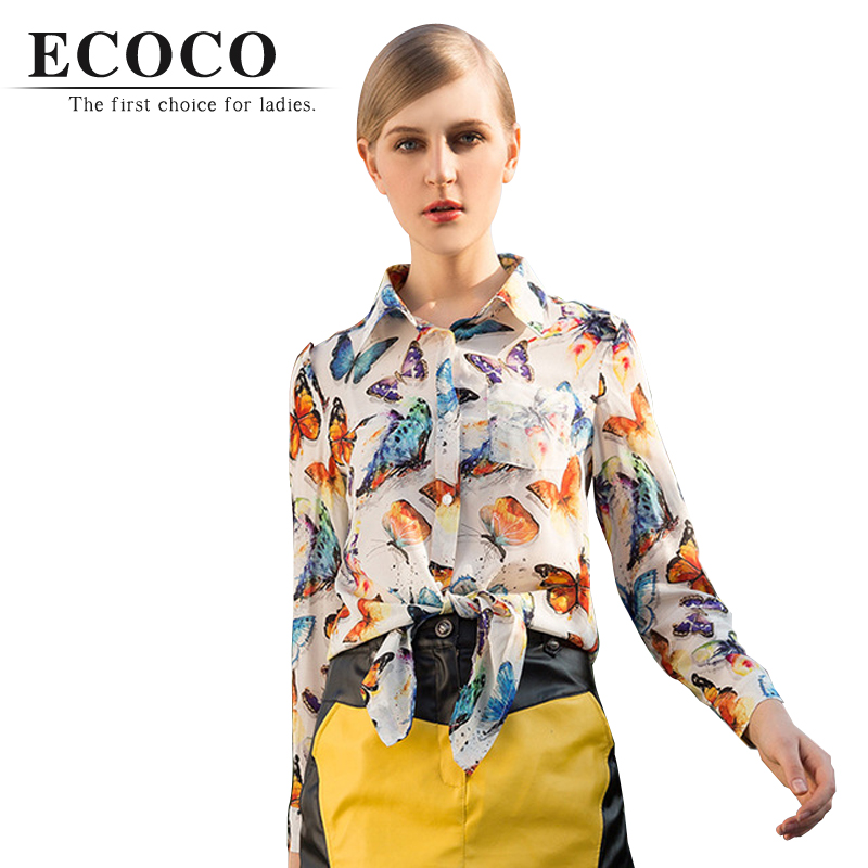 2016 Vintage Summer Fashion 100% Real Silk Chiffon Long Sleeve Turn-down Collar Bow Character Butterfly Print Blouse Shirts D782(China (Mainland))