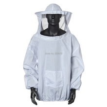 High Quality White Protective Beekeeping Jacket Veil Dress With Hat Equip Suit Smock FREE SHIPPING(China (Mainland))
