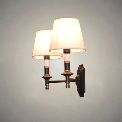 Cloth Lamps Shade Double Modern Wall Lamp American LED Wall Light Fixtures For Indoor Home Lighting Bedside Wall Sconce Lampara