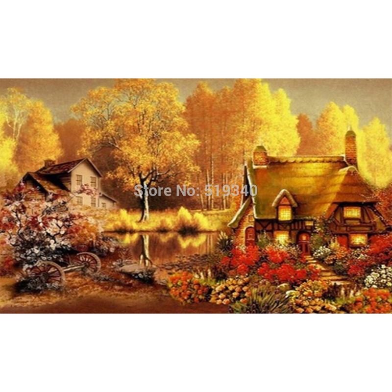 New hot sale needlework free shipping full rhinestone diy diamond painting set fall landscape dream house resin embroidery 45x27(China (Mainland))