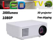 from china free shipping led hd multimedia mini projector,2000 lumens hd projetor full hd led tv proyector Input HDMI/USB/VAG/AV