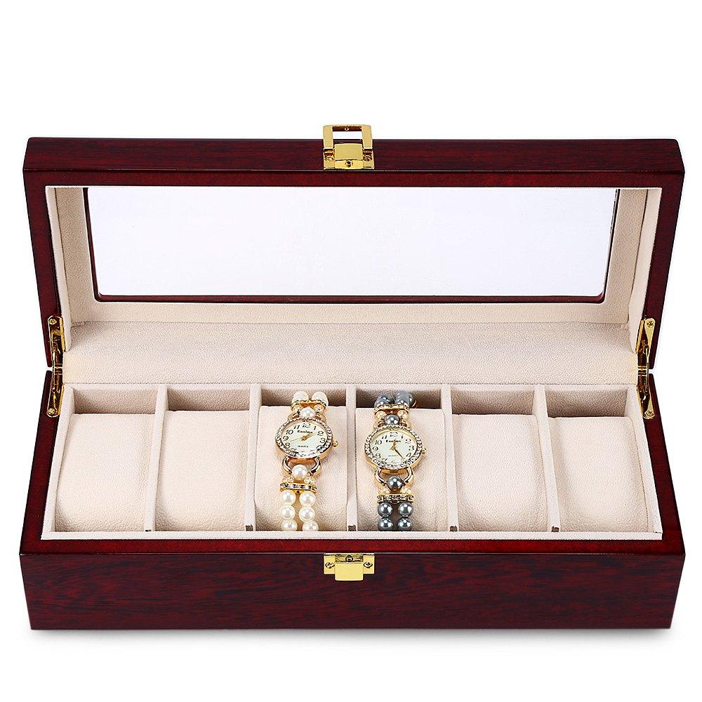 6 Slots Wood Watch Display Case Watches Box Glass Top Jewelry Storage Organizer(China (Mainland))