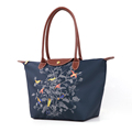 Exquisite Embroidered Tree Tote Nylon PU Splicing Bag Women Durable Casual Hand Bag Large Foldable Ladies
