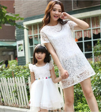 Family fitted 2016 summer new girls short-sleeved lace dress Slim female Women yards casual party dress H