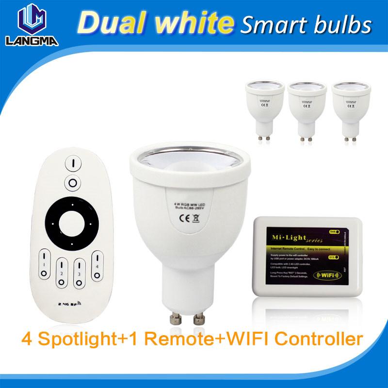 4*bulbs + 1* Wifi Controller+1*Remote Control Magic Smart LED Light Bulb Wi-Fi Enabled E27 Standard Screw Base Lampada Bombillas(China (Mainland))