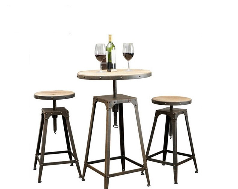 American country wrought iron tables and chairs bar stool coffee tall casual child<br>