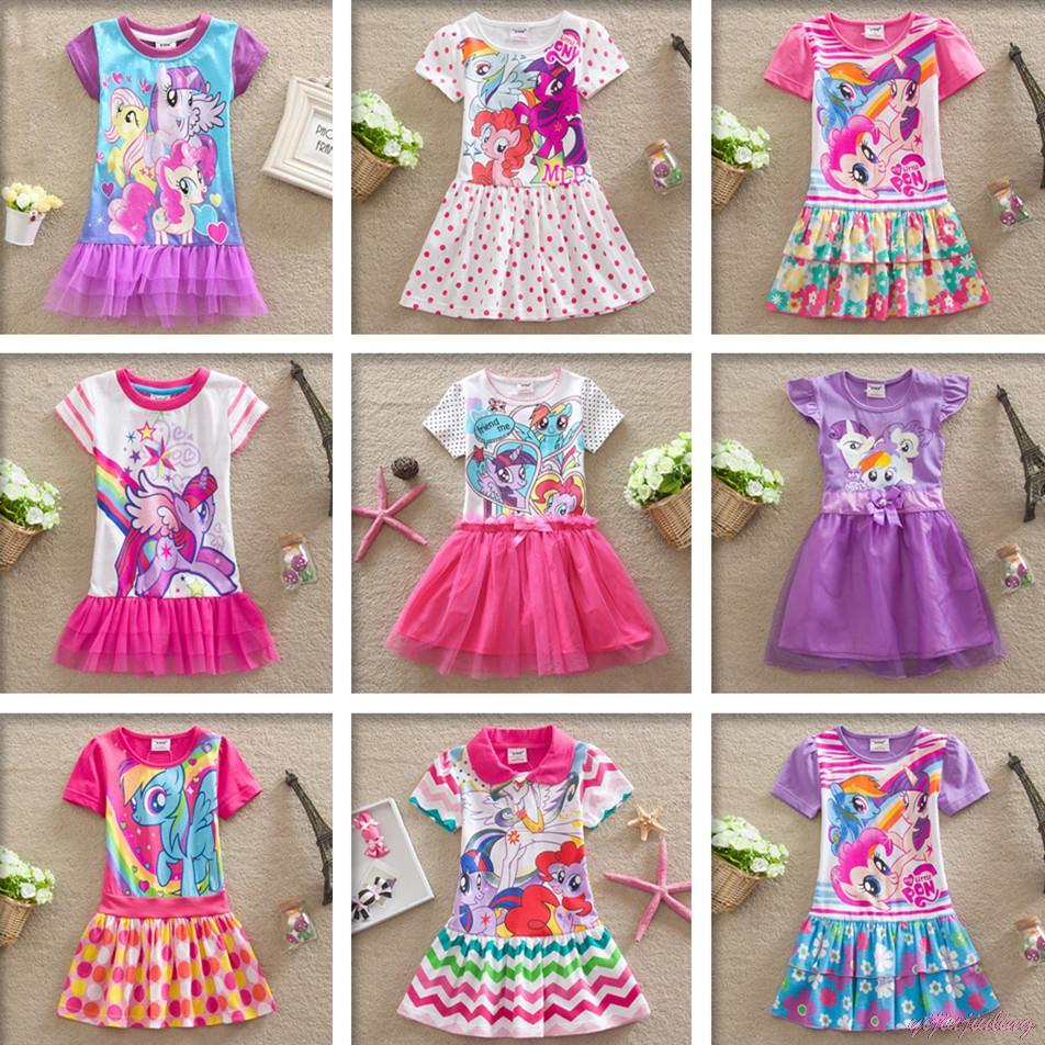 Гаджет  Dress for Girls Girl Clothing Clothes Kids New My Little Ponys Dress Girl Dresses Summer Girls Dresses Cartoon Kids Tutu Pony None Детские товары