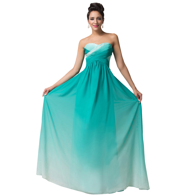 Amazing Women Dark Green Blue A Line Dress Cute Lady Empire Elegant Dresses