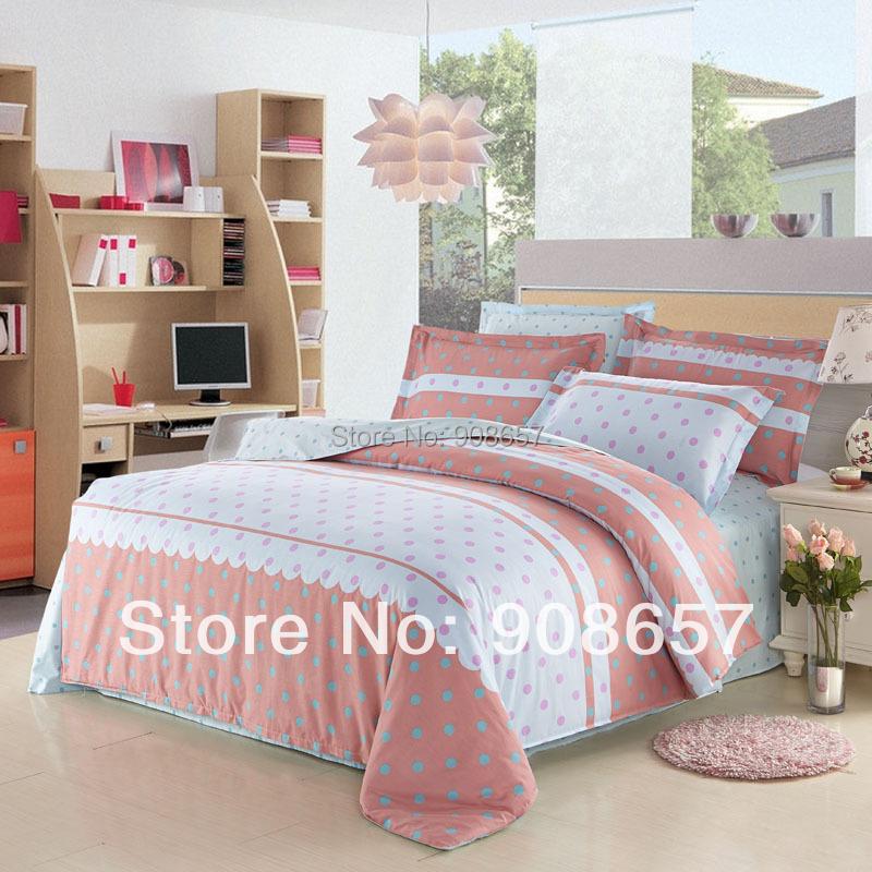 blue polka dot pattern cotton girls bedding set queen full size bed