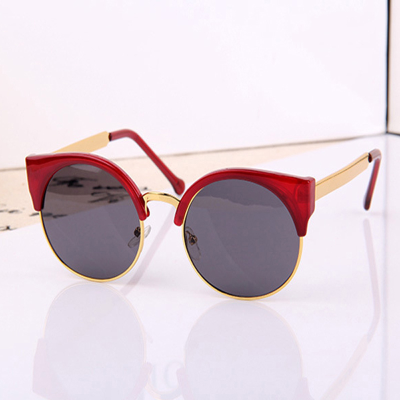 2015 New Fashion Retro Designer Women Round Circle Glasses Cat Eye Semi Rimless Vintage Sunglasses Goggles