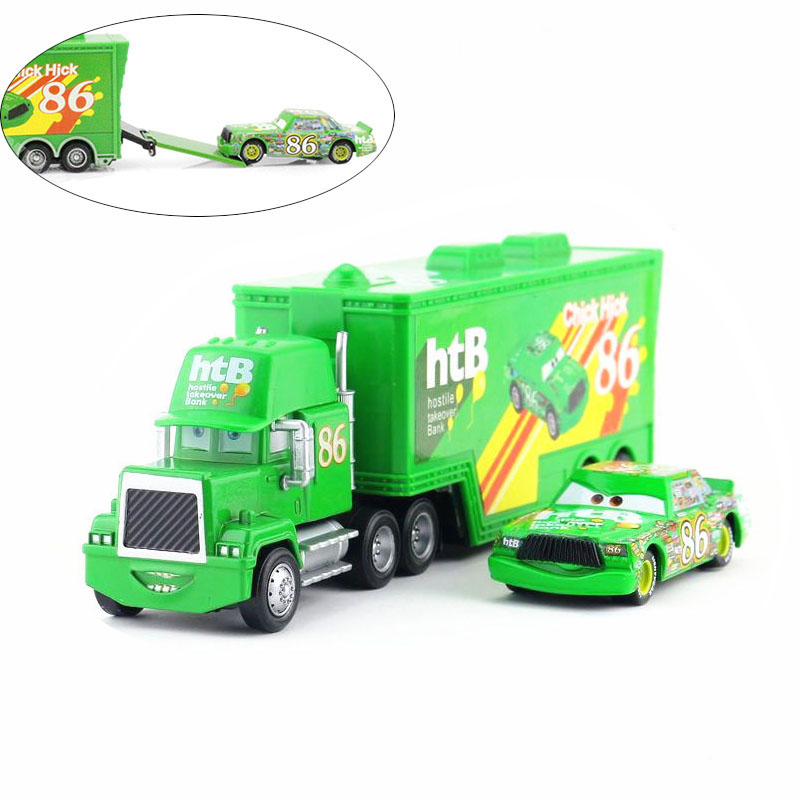 2Pcs/set Cars 2 boy children cast figure Chick Hicks toy Alloy Model Car for children Container Green Truck In 86 Container(China (Mainland))
