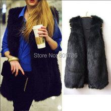 2014 Winter New Hot Fashion Waistcoat Women Fake Fur Sleeveless Vest Coat V-Collar Long Waistcoat Jacket Outwear Size S-XXXL(China (Mainland))