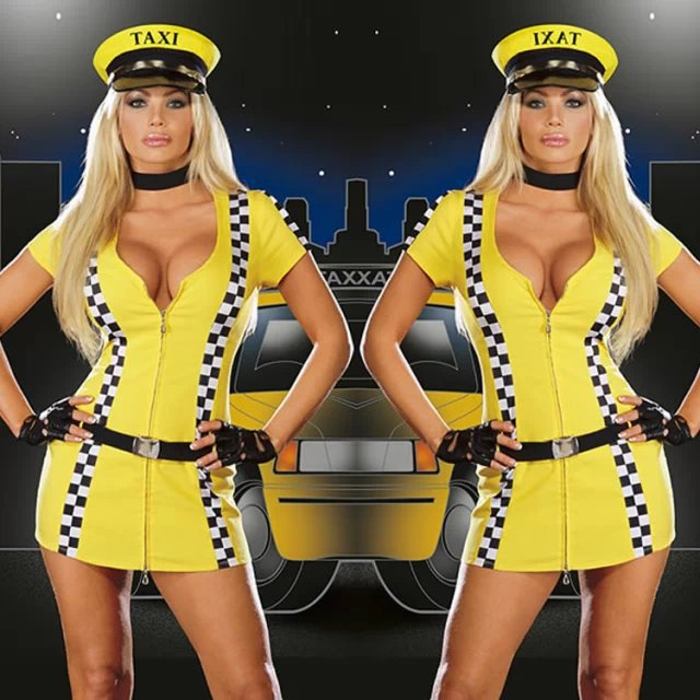 2016 New Sexy Girl Style Overalls Uniform Series Yellow Color Police Role Play Temptation Clothing