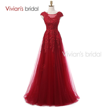 Vivian's Bridal Dark Red Sexy Lace Evening Dresses Long 2016 Couture Formal Evening Gown Dress China with Sleeves Real Photo(China (Mainland))