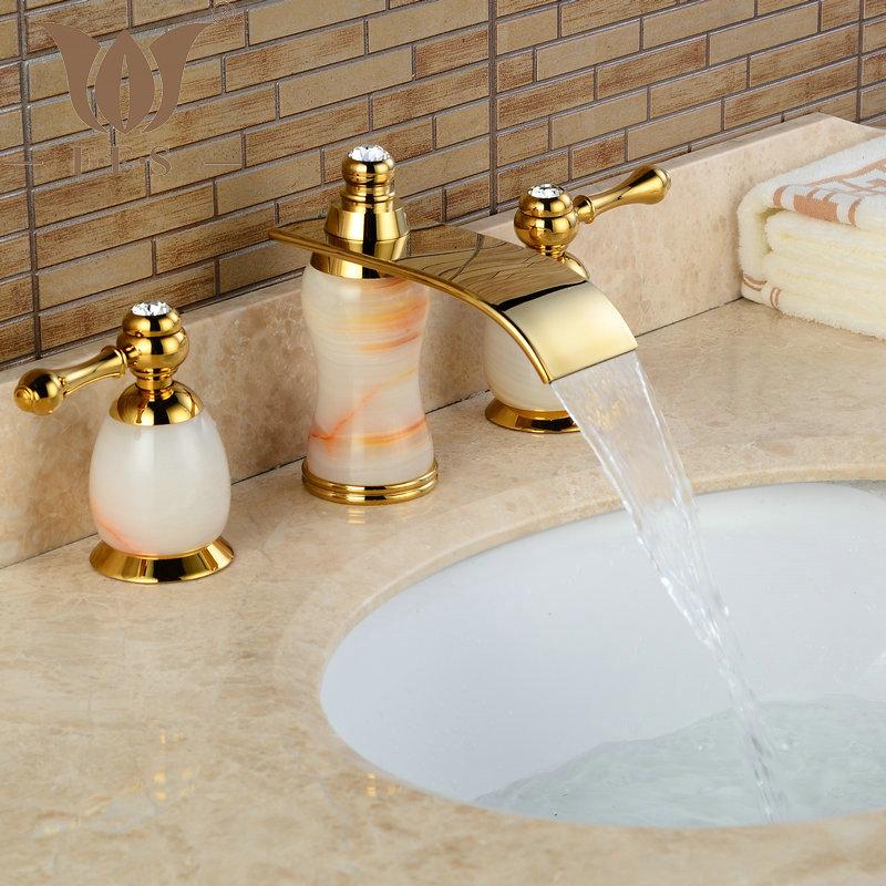 3Pcs Jade&Brass Deck Mounted Bathroom Tap Basin Faucet Sink or Bathtub Faucet Double handles Faucet BA30A(China (Mainland))