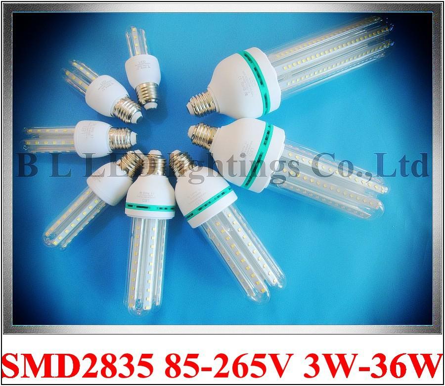 aluminum+glass SMD 2835 LED corn bulb light lamp 3W 5W 7W 9W 12W 16W 24W 36W AC85-265V E27 CE ROHS 50PCS/box wholesale(China (Mainland))