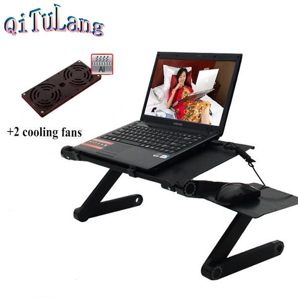 Laptop Cooler Table Portable Folding Laptop Notebook Computer Stand Table Desk Bed Office Sofa Tray + 2 Cooler with Mouse pad(China (Mainland))