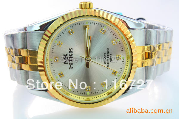 HK Quality Mike Brand Wristwatches Business Men 30M Waterproof Full stainless Steel Between Gold Luxury Male Watch(China (Mainland))