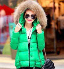 Women's Clothing Women's winter fashion color matching big yards hooded thickening cotton-padded clothes down jacket & Coat