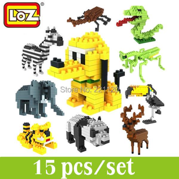 15pcs LOZ Building Blocks Set Animal Diamond Blocks Minifigure Sets Miniature Toys Euducational Blocks Train Blocks(China (Mainland))