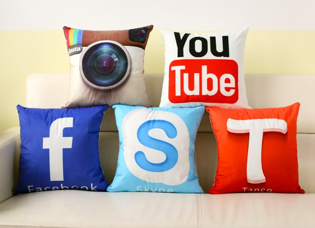 Instant Message APP Cushion Cover Facebook YouTube Skype Media Logo Pillow Covers Velvet Fabric Sofa Pillow Cover 40x40cm B26(China (Mainland))