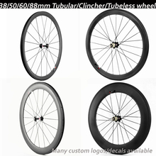 carbon wheels 38 50 60 88mm 23/25mm Clincher/Tubular/tubeless NOVATEC/POWERWAY R13 hub 700C bike wheelset carbon bicycle wheels(China (Mainland))