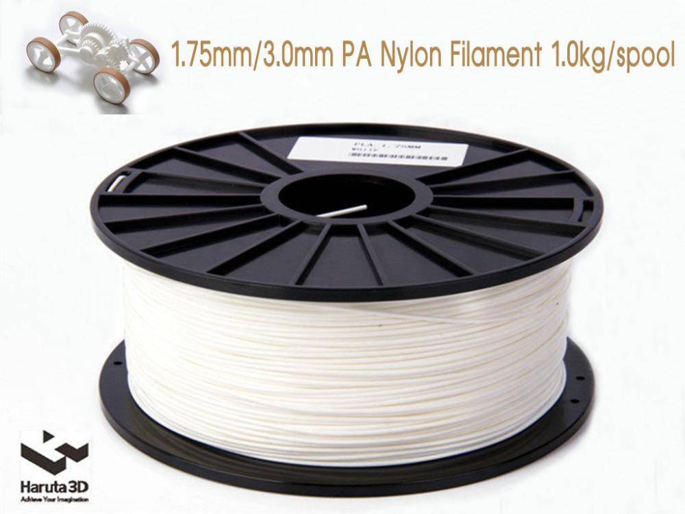 White color PA Nylon 3D printer filament 1.75mm 3.0mm 1kg/2.2lbs Consumable Material for MakerBot RepRap UP Mendel 3D Printer<br><br>Aliexpress
