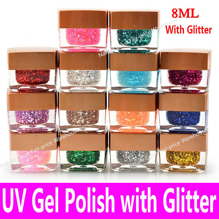2015 High Quality UV Nail Gel Polish Soak Off Cheap China Brand Long Lasting LED Glaze Glitter 1 bottle in 14 Colors 8ml 0.28oz(China (Mainland))