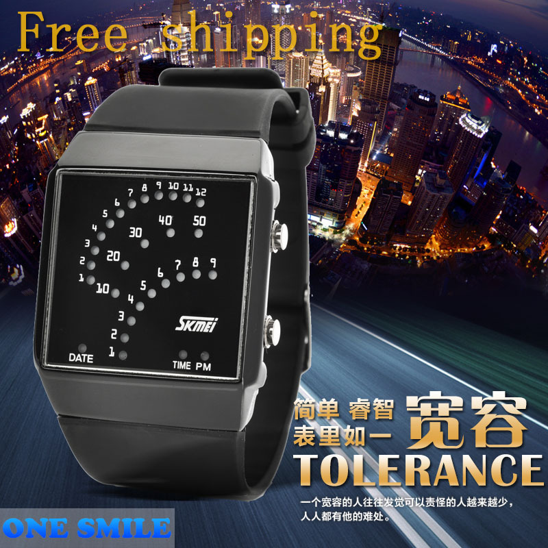 Free shipping 2015 New Arrival Fashion Plastic Band LED Square Waterproof Fashion Wrist watches men Made In China(China (Mainland))