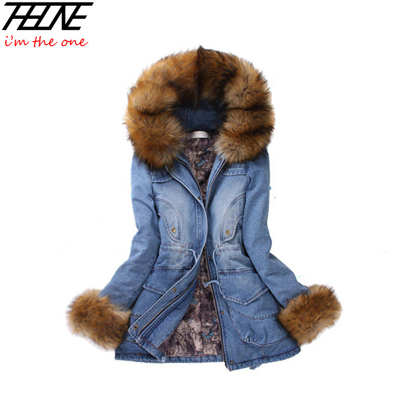 New Winter Coat Women Denim Jackets Big Faux Fur Hooded Thick Warm Outwear Casual Long Cotton Padded Jeans Parkas Denim FemaleОдежда и ак�е��уары<br><br><br>Aliexpress