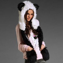 New Arrival Fahsion Warm Animal Fur Hat Scarf Fluffy Plush Cap Ear Hood Shawl Glove Unisex    DM#6(China (Mainland))