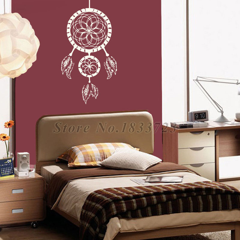 Bedroom Wall Stickers Indian Dream Catcher Feathers Vinyl Adhesive ...