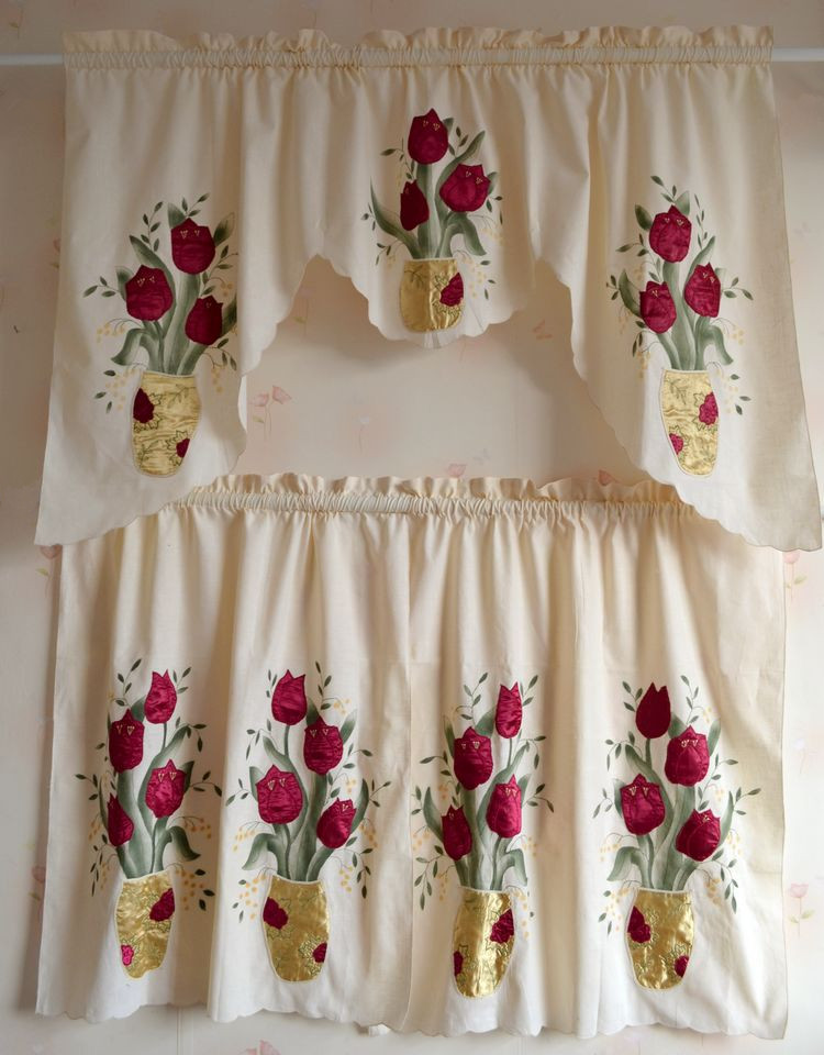 2pc get 5% off Beautiful tulips with Continental cotton cloth embroidery coffee curtain kitchen curtain(China (Mainland))