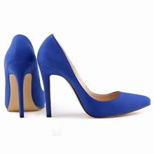Blue faux suede 11cm high heels wedding party spring summer women shoes work court pumps classic style big size free shipping(China (Mainland))