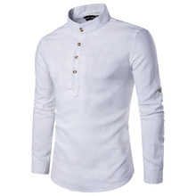 Buy Stylish Linen Shirts Men/Boy 2017 Spring New Long Sleeve Mens Shirts Chemise Homme Stand Collar Slim Fit Social Camisa Masculina for $15.12 in AliExpress store