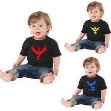 Pokemon Go Team Valor Team Mystic Team Instinct Baby Girl Boy T-shirt Black Tee Summer Fahion  Top