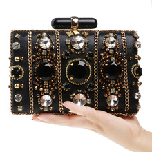 Baroque Style Luxury Diamond Trunk Evening Bag Clutches Purely Handmade Important Appointment Party Bag Princess Noble Favorites(China (Mainland))