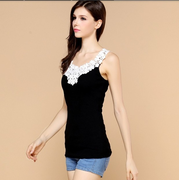 Sexy Lace neck cotton vest new Fashion summer tight sleeveless female vest crop tops for girls casual tshirt