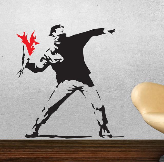 Бэнкси вдохновленный - факел метатель винил стена наклейка, Стена наклейка настенные обои, Стена искусство