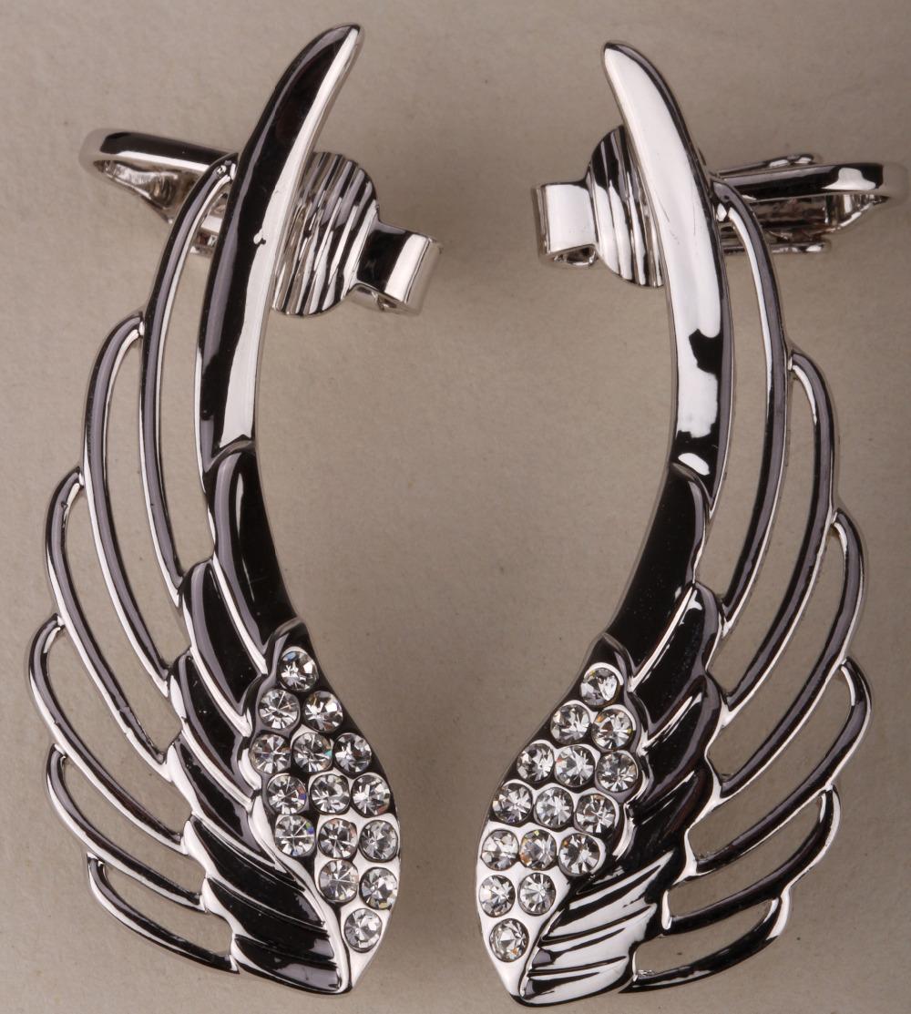 Feather ear wrap clip cuff earrings australian crystal angel wing biker jewelry for women summer fashion gold & silver tone SC08(China (Mainland))