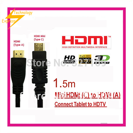 High Speed Mini HDMI to HDMI cable 1.5m for Nikon D600 D3100 D3200 D5200 Digital SLR Camera Free Shipping<br><br>Aliexpress