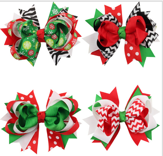 Christmas snowflake Bow Hair Clip baby Red and Green Bow Newborn hairpin kids Girl hair Accessories 12pcs/lot(China (Mainland))