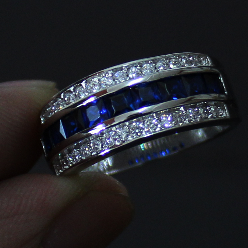 Men S Blue Sapphire 10KT White Gold Filled Wedding Band Ring