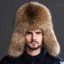 Package mail fur hat men outdoor leather crown fox raccoon middle-aged MAO lei feng mo leisure(China (Mainland))