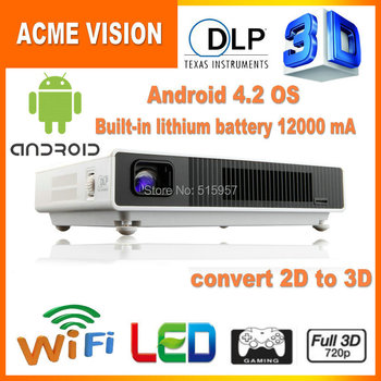 New arrivals X5 Full HD 1080P Built-in battery Android  Wifi DLP Shutter 3D Overhead 3 Led Mini Beamer Portable home Projector
